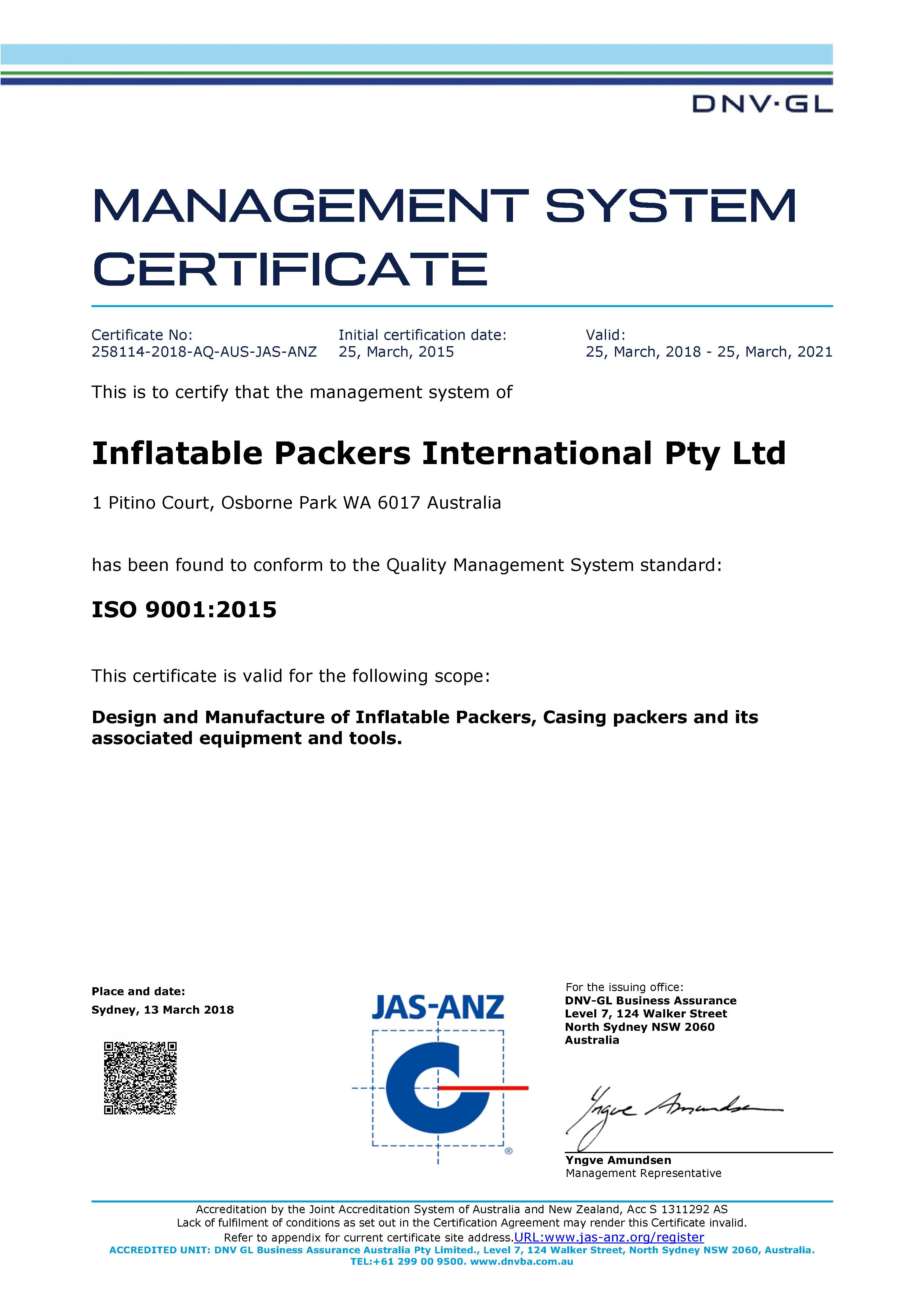 image of INFLATABLE PACKERS 9001 CERTIFICATE